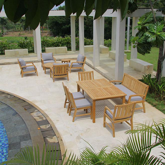 Corona Lounge Chairs, Dining Chairs, Bench