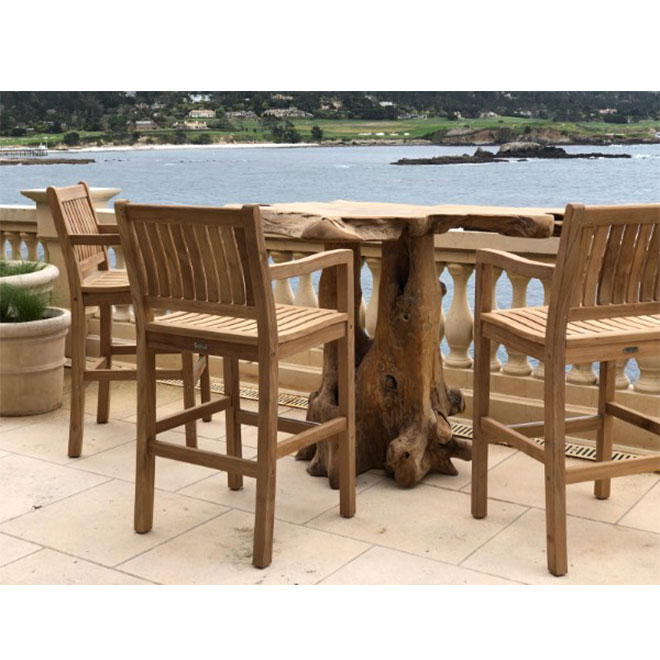 Teak Root Bar Table with Classic Bar Arm Chairs (1)